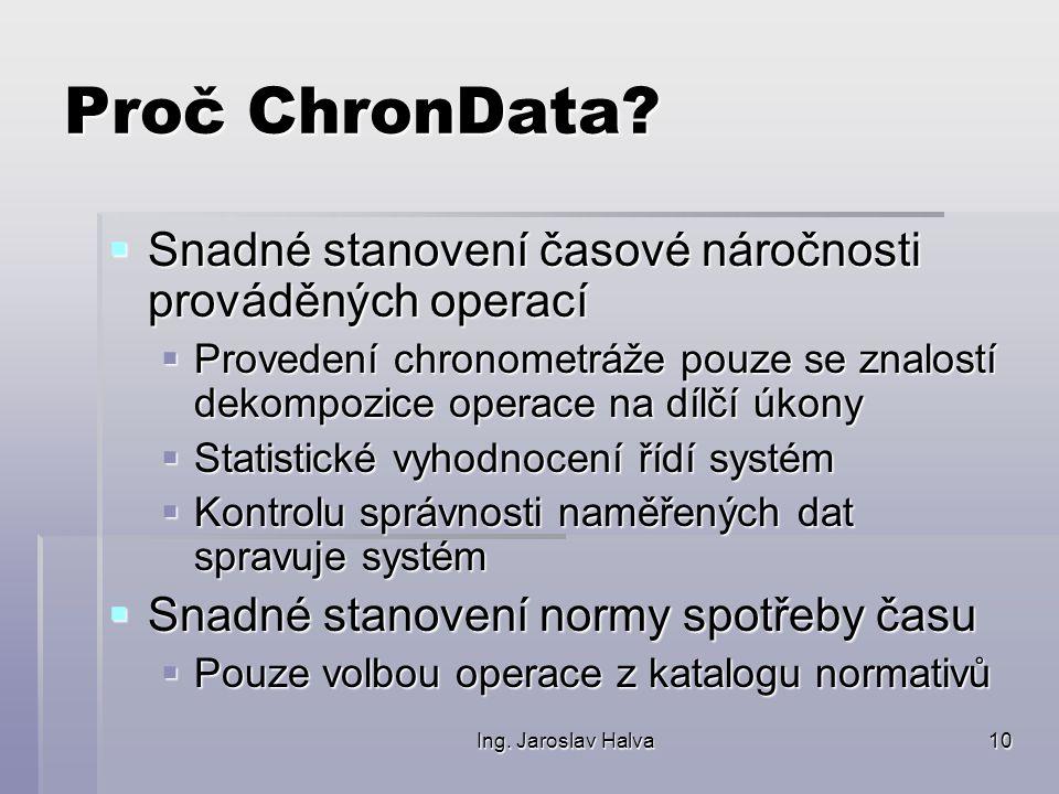 Ing. Jaroslav Halva10 Proč ChronData?  Snadné stanovení časové náročnosti prováděných operací  Provedení chronometráže pouze se znalostí dekompozice
