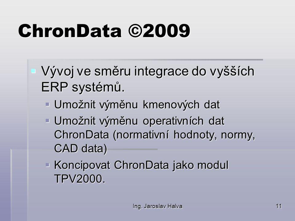 Ing. Jaroslav Halva11 ChronData ©2009  Vývoj ve směru integrace do vyšších ERP systémů.  Umožnit výměnu kmenových dat  Umožnit výměnu operativních