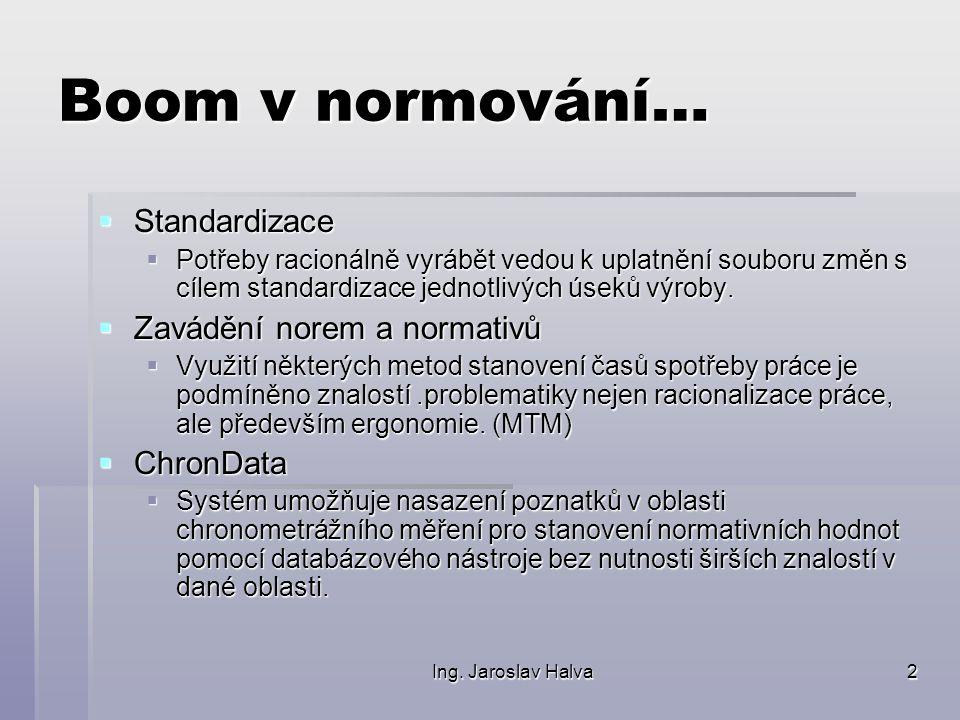 Ing. Jaroslav Halva2 Boom v normování…  Standardizace  Potřeby racionálně vyrábět vedou k uplatnění souboru změn s cílem standardizace jednotlivých