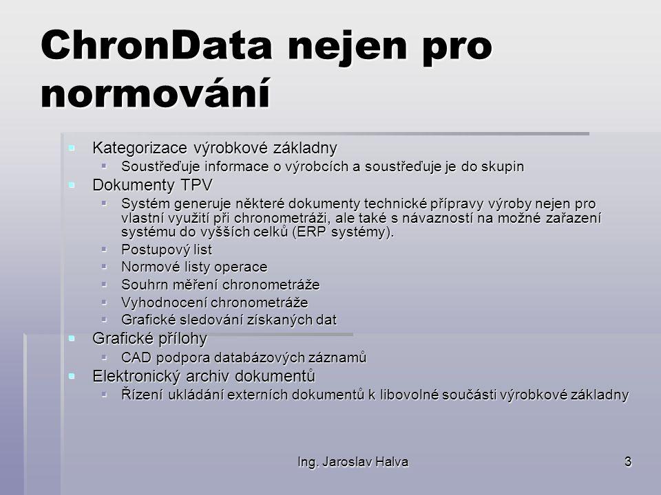 Ing. Jaroslav Halva3 ChronData nejen pro normování  Kategorizace výrobkové základny  Soustřeďuje informace o výrobcích a soustřeďuje je do skupin 