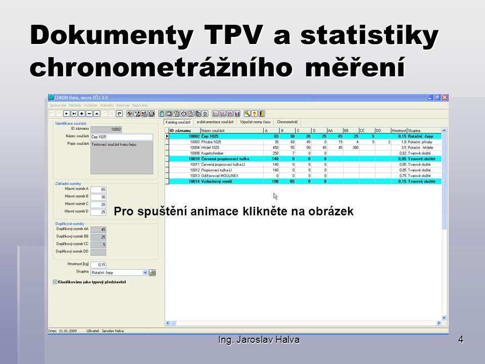 Ing. Jaroslav Halva4 Dokumenty TPV a statistiky chronometrážního měření Pro spuštění animace klikněte na obrázek