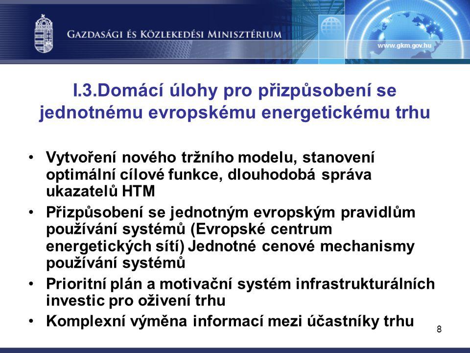 8 I.3.Domácí úlohy pro přizpůsobení se jednotnému evropskému energetickému trhu Vytvoření nového tržního modelu, stanovení optimální cílové funkce, dlouhodobá správa ukazatelů HTM Přizpůsobení se jednotným evropským pravidlům používání systémů (Evropské centrum energetických sítí) Jednotné cenové mechanismy používání systémů Prioritní plán a motivační systém infrastrukturálních investic pro oživení trhu Komplexní výměna informací mezi účastníky trhu