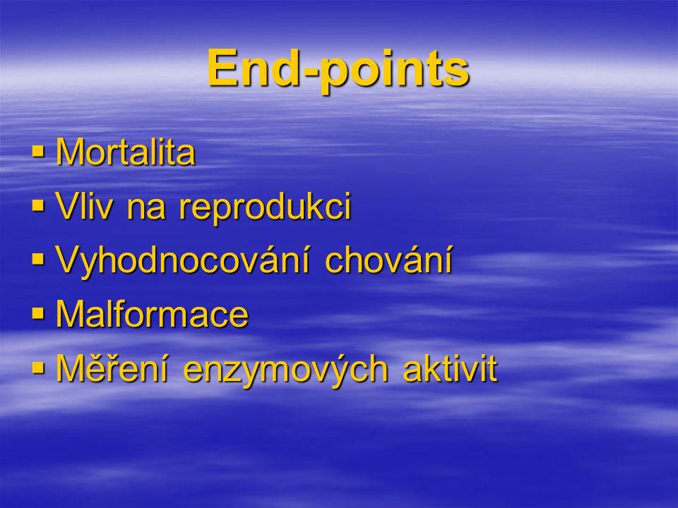 End-points  Mortalita  Vliv na reprodukci  Vyhodnocování chování  Malformace  Měření enzymových aktivit