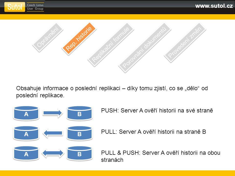 """www.sutol.cz Obsahuje informace o poslední replikaci – díky tomu zjistí, co se """"dělo"""" od poslední replikace. A A B B A A B B A A B B PUSH: Server A ov"""
