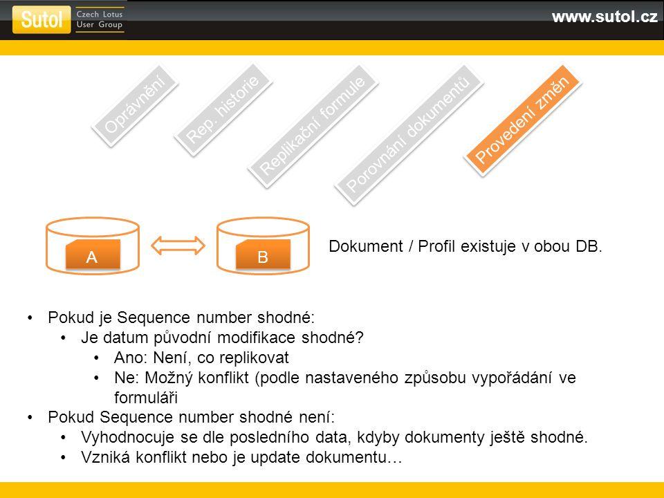 www.sutol.cz Oprávnění Rep. historie Replikační formule Porovnání dokumentů Provedení změn A A B B Dokument / Profil existuje v obou DB. Pokud je Sequ