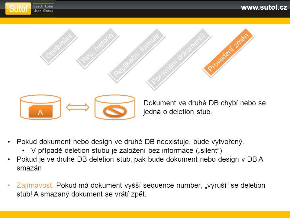 www.sutol.cz Oprávnění Rep. historie Replikační formule Porovnání dokumentů Provedení změn A A Dokument ve druhé DB chybí nebo se jedná o deletion stu