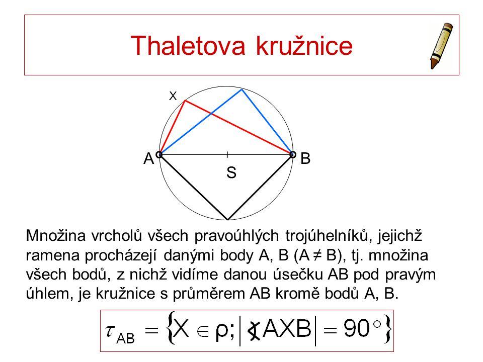 Množina vrcholů všech pravoúhlých trojúhelníků, jejichž ramena procházejí danými body A, B (A ≠ B), tj. množina všech bodů, z nichž vidíme danou úsečk