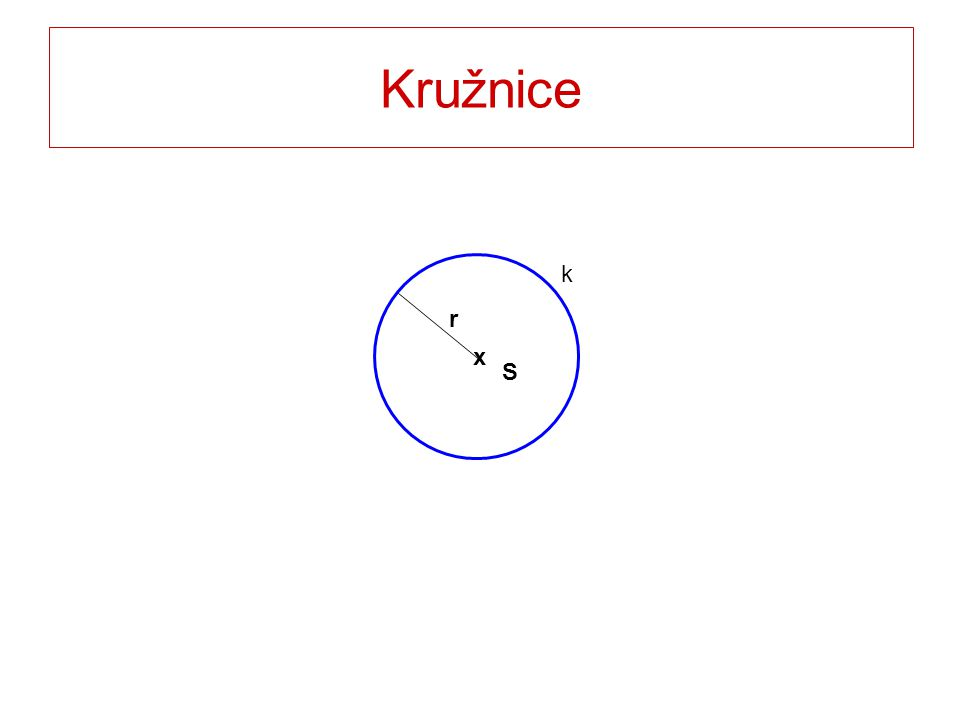 KRUŽNICE k(S; r) je množina všech bodů X roviny ρ, které mají od bodu S vzdálenost r.