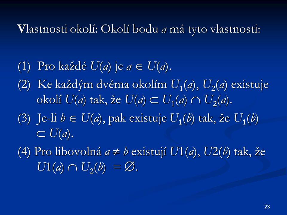 23 Vlastnosti okolí: Okolí bodu a má tyto vlastnosti: (1) Pro každé U(a) je a  U(a). (2) Ke každým dvěma okolím U 1 (a), U 2 (a) existuje okolí U(a)