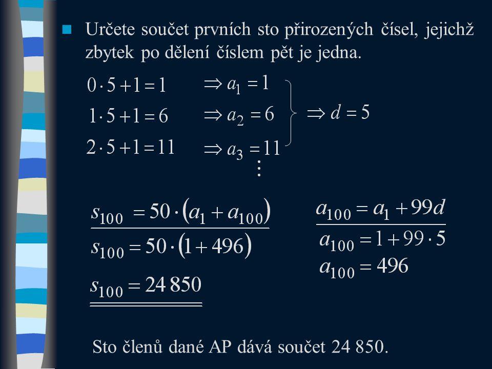 Příklady pro samostatné řešení  Aritmetická posloupnost