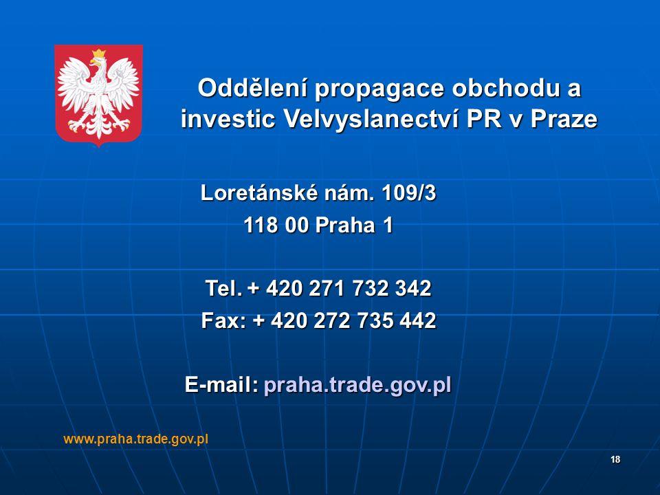 18 Oddělení propagace obchodu a investic Velvyslanectví PR v Praze Loretánské nám. 109/3 118 00 Praha 1 Tel. + 420 271 732 342 Fax: + 420 272 735 442