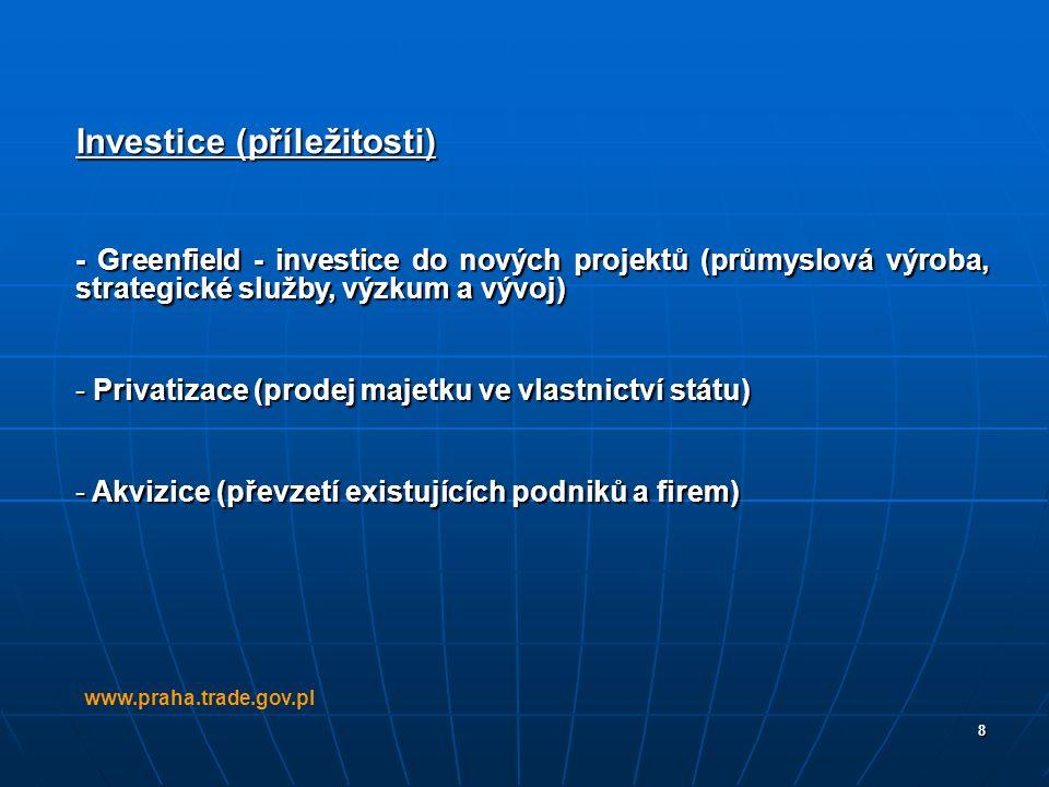 8 Investice (příležitosti) - Greenfield - investice do nových projektů (průmyslová výroba, strategické služby, výzkum a vývoj) - Privatizace (prodej m