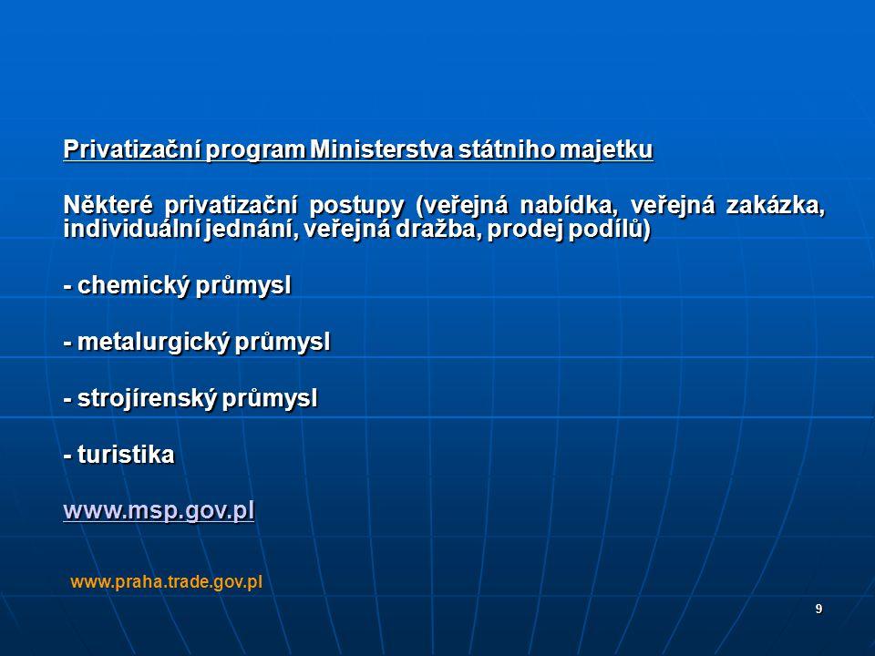 9 Privatizační program Ministerstva státniho majetku Některé privatizační postupy (veřejná nabídka, veřejná zakázka, individuální jednání, veřejná dra