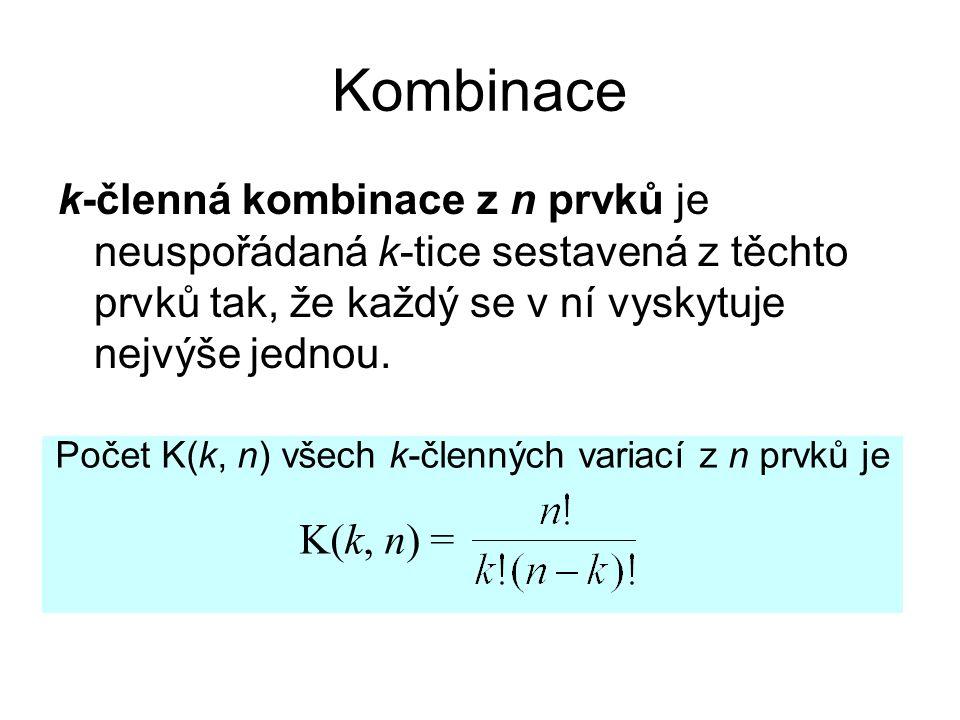 Kombinace k-členná kombinace z n prvků je neuspořádaná k-tice sestavená z těchto prvků tak, že každý se v ní vyskytuje nejvýše jednou.