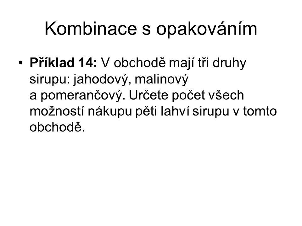 Kombinace s opakováním Příklad 14: V obchodě mají tři druhy sirupu: jahodový, malinový a pomerančový.