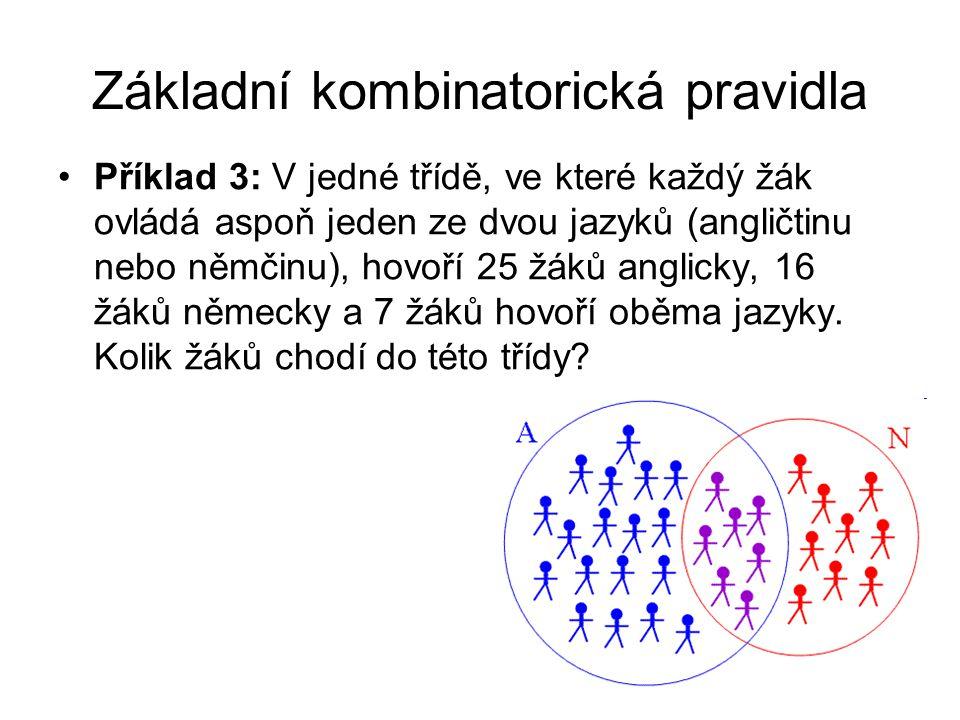 Základní kombinatorická pravidla Příklad 3: V jedné třídě, ve které každý žák ovládá aspoň jeden ze dvou jazyků (angličtinu nebo němčinu), hovoří 25 žáků anglicky, 16 žáků německy a 7 žáků hovoří oběma jazyky.