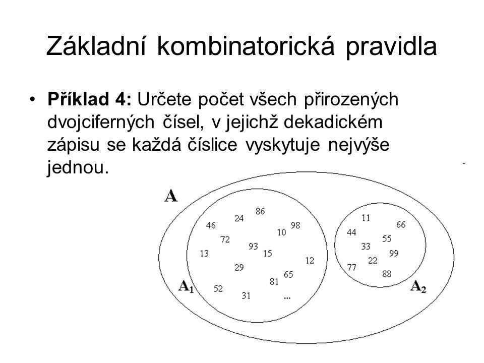 Základní kombinatorická pravidla Příklad 4: Určete počet všech přirozených dvojciferných čísel, v jejichž dekadickém zápisu se každá číslice vyskytuje nejvýše jednou.