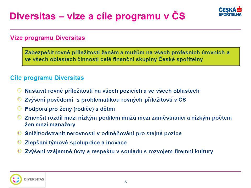 3 Diversitas – vize a cíle programu v ČS Vize programu Diversitas Zabezpečit rovné příležitosti ženám a mužům na všech profesních úrovních a ve všech