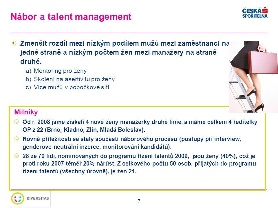 7 Zmenšit rozdíl mezi nízkým podílem mužů mezi zaměstnanci na jedné straně a nízkým počtem žen mezi manažery na straně druhé. a)Mentoring pro ženy b)Š