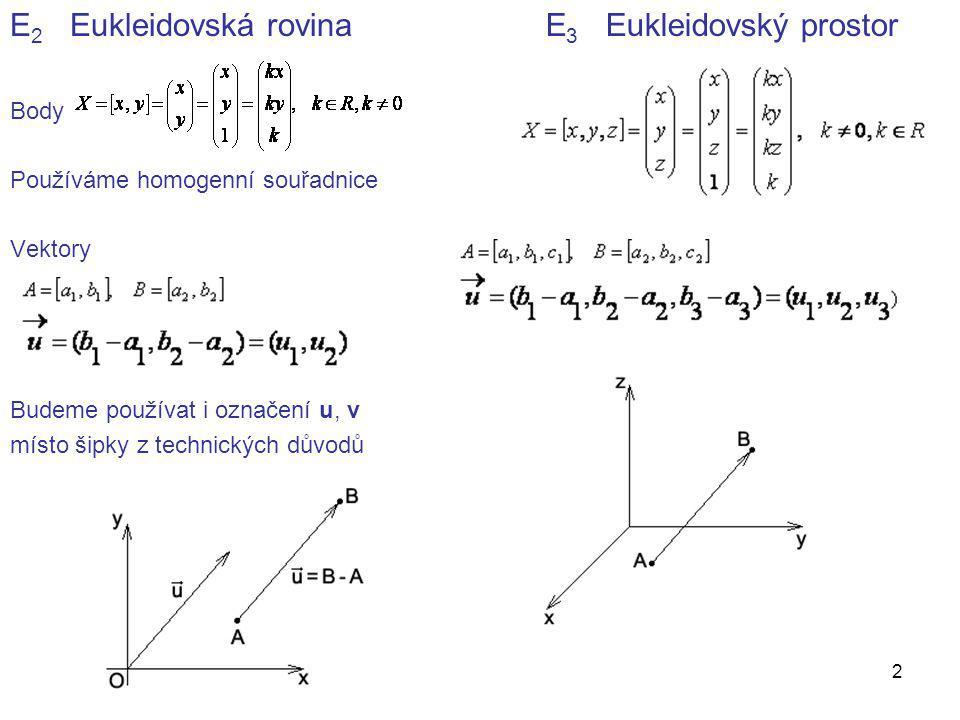 13 Transformace v rovině … Φ, Ψ, f, F Pevná soustava souřadnic X, k, … vzory X', k', … obrazy Samodružný bod f(A) = A, samodružná přímka f(a) = a Známe: shodnosti, stejnolehlost, podobnost Otáčení kolem počátku soustavy souřadnic o úhel α