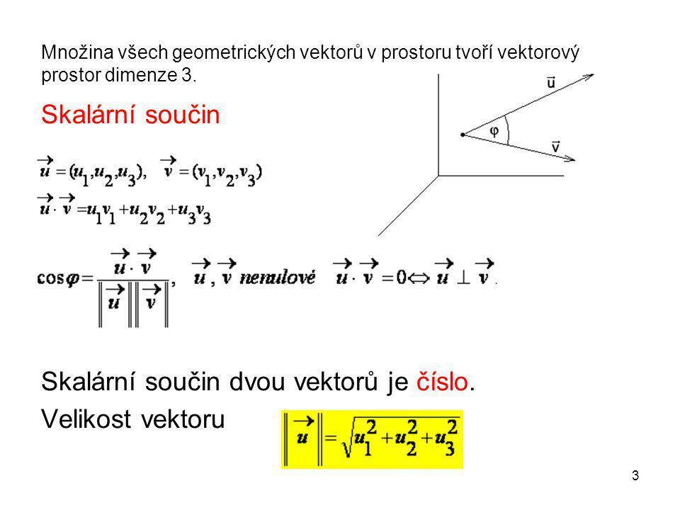 4 Vektorový součin Vektorový součin je vektor.