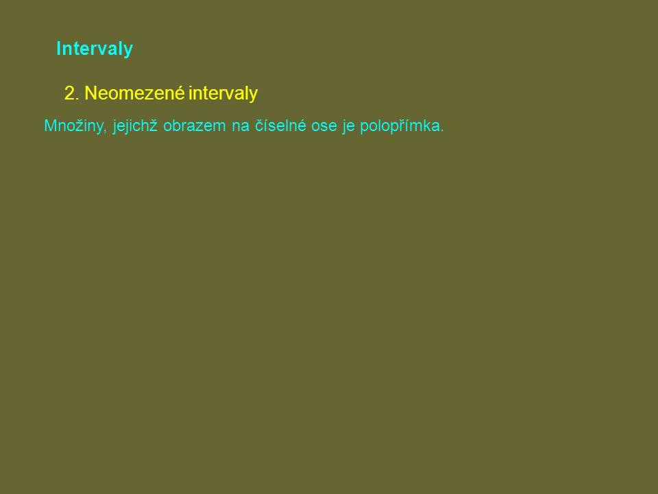 Intervaly 2. Neomezené intervaly Množiny, jejichž obrazem na číselné ose je polopřímka.