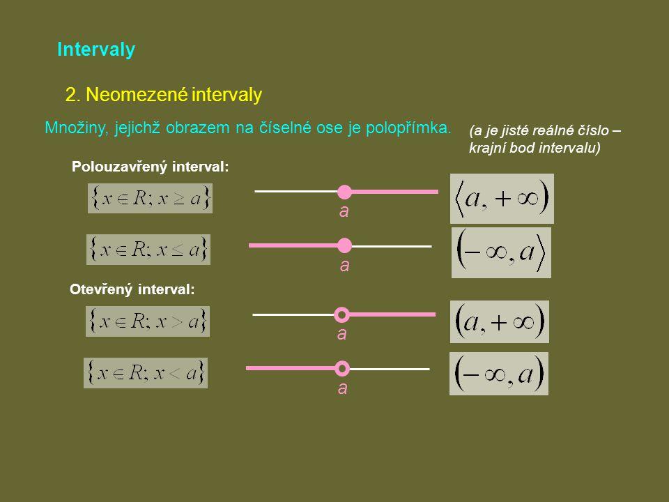 Intervaly 2. Neomezené intervaly Množiny, jejichž obrazem na číselné ose je polopřímka. (a je jisté reálné číslo – krajní bod intervalu) a Polouzavřen
