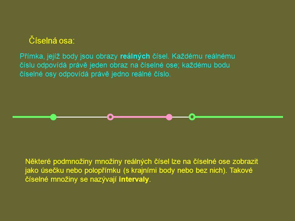 Intervaly 1. Omezené intervaly Množiny, jejichž obrazem na číselné ose je úsečka.