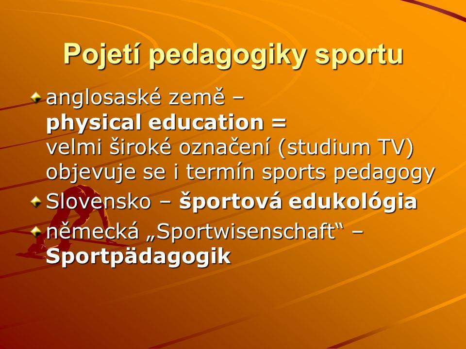 Pojetí pedagogiky sportu anglosaské země – physical education = velmi široké označení (studium TV) objevuje se i termín sports pedagogy Slovensko – šp