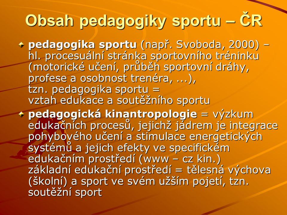 Obsah pedagogiky sportu – ČR pedagogika sportu (např. Svoboda, 2000) – hl. procesuální stránka sportovního tréninku (motorické učení, průběh sportovní