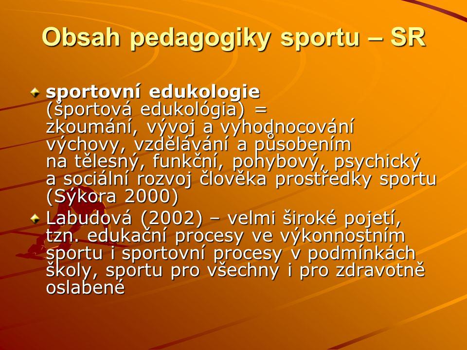Obsah pedagogiky sportu – SR sportovní edukologie (športová edukológia) = zkoumání, vývoj a vyhodnocování výchovy, vzdělávání a působením na tělesný,