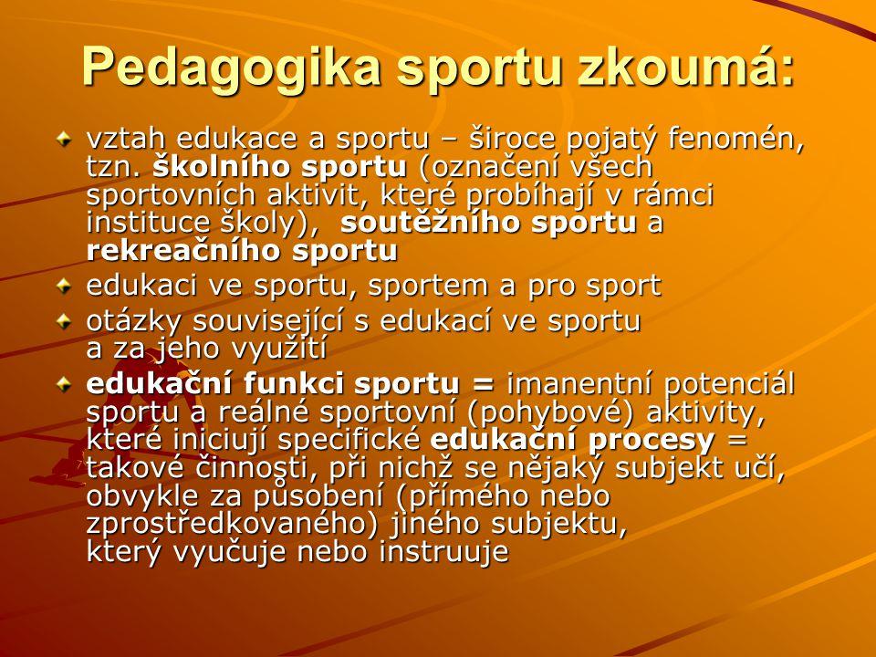 Pedagogika sportu zkoumá: vztah edukace a sportu – široce pojatý fenomén, tzn. školního sportu (označení všech sportovních aktivit, které probíhají v