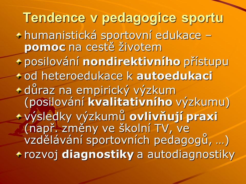 Tendence v pedagogice sportu humanistická sportovní edukace – pomoc na cestě životem posilování nondirektivního přístupu od heteroedukace k autoedukac