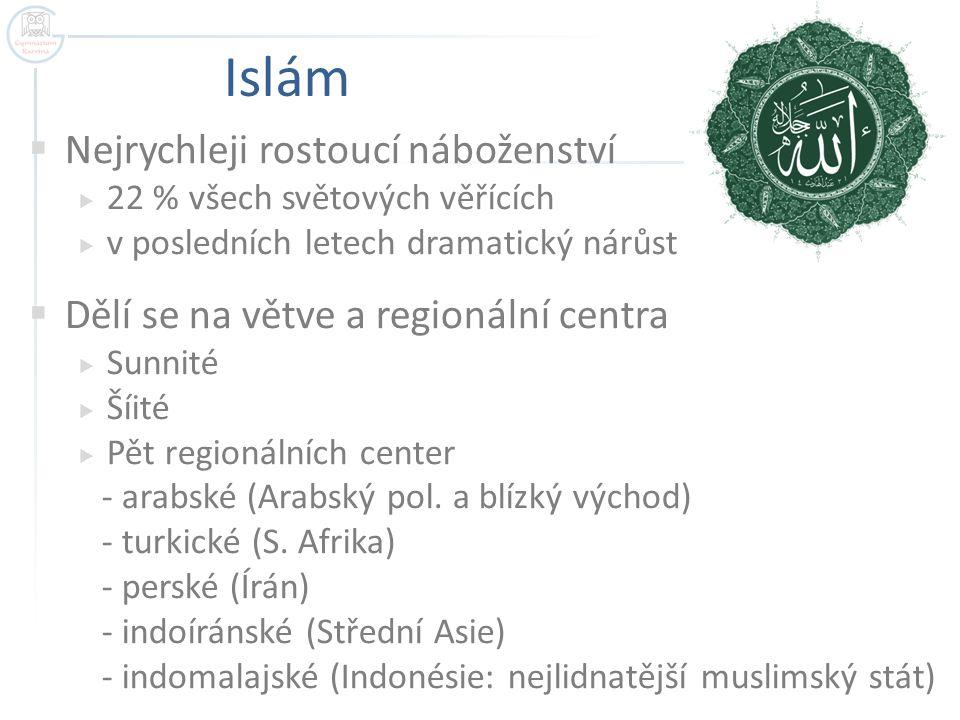 Islám  Nejrychleji rostoucí náboženství  22 % všech světových věřících  v posledních letech dramatický nárůst  Dělí se na větve a regionální centr