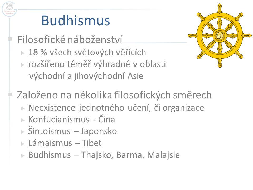 Budhismus  Filosofické náboženství  18 % všech světových věřících  rozšířeno téměř výhradně v oblasti východní a jihovýchodní Asie  Založeno na ně