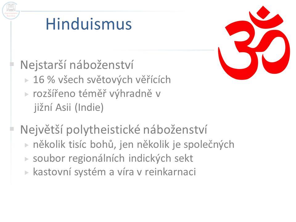 Hinduismus  Nejstarší náboženství  16 % všech světových věřících  rozšířeno téměř výhradně v jižní Asii (Indie)  Největší polytheistické náboženst