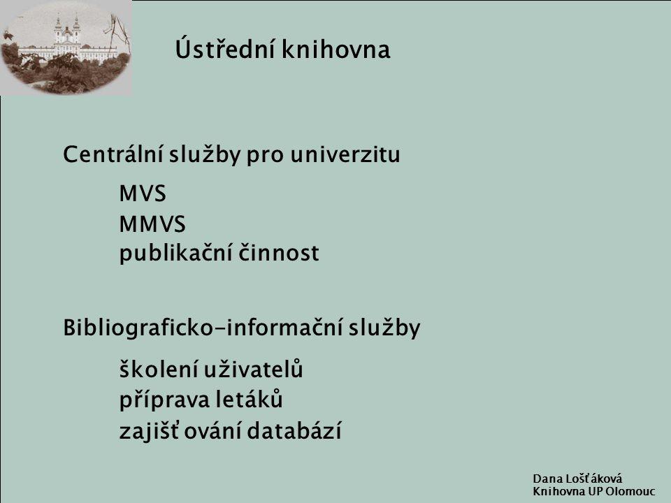 Ústřední knihovna Centrální služby pro univerzitu MVS MMVS publikační činnost školení uživatelů příprava letáků zajišťování databází Bibliograficko-informační služby Dana Lošťáková Knihovna UP Olomouc