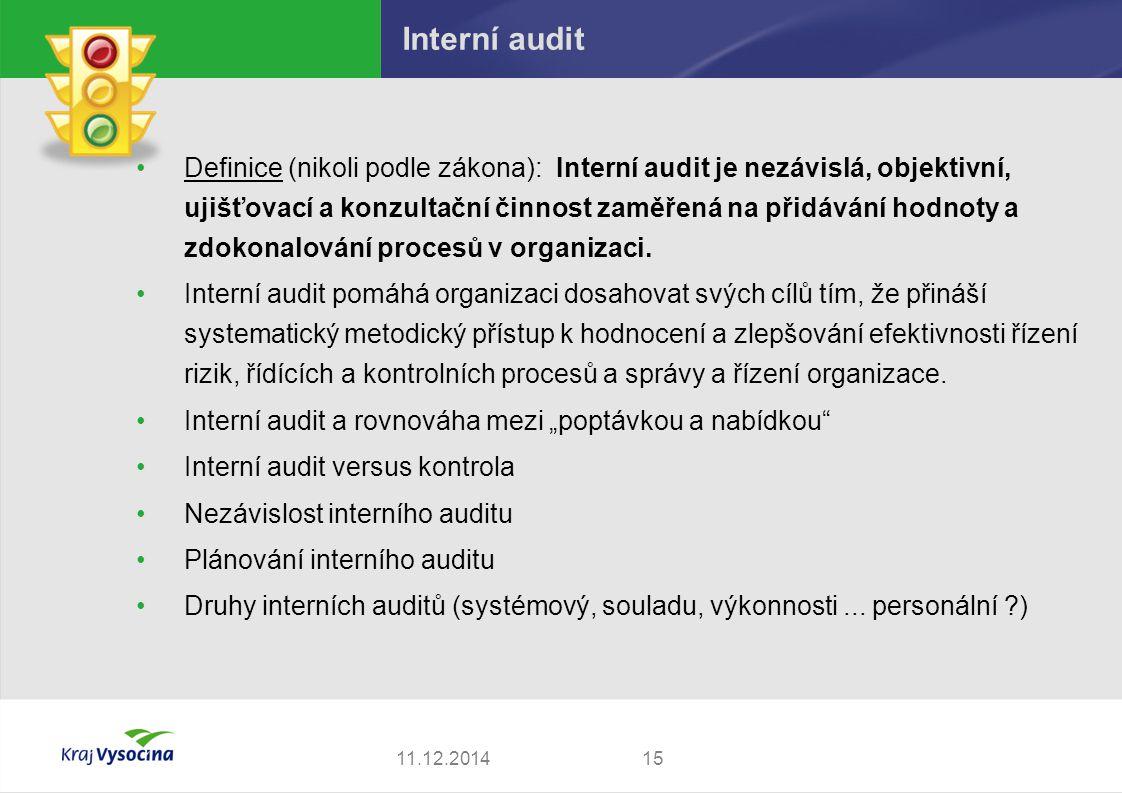 Interní audit Definice (nikoli podle zákona): Interní audit je nezávislá, objektivní, ujišťovací a konzultační činnost zaměřená na přidávání hodnoty a