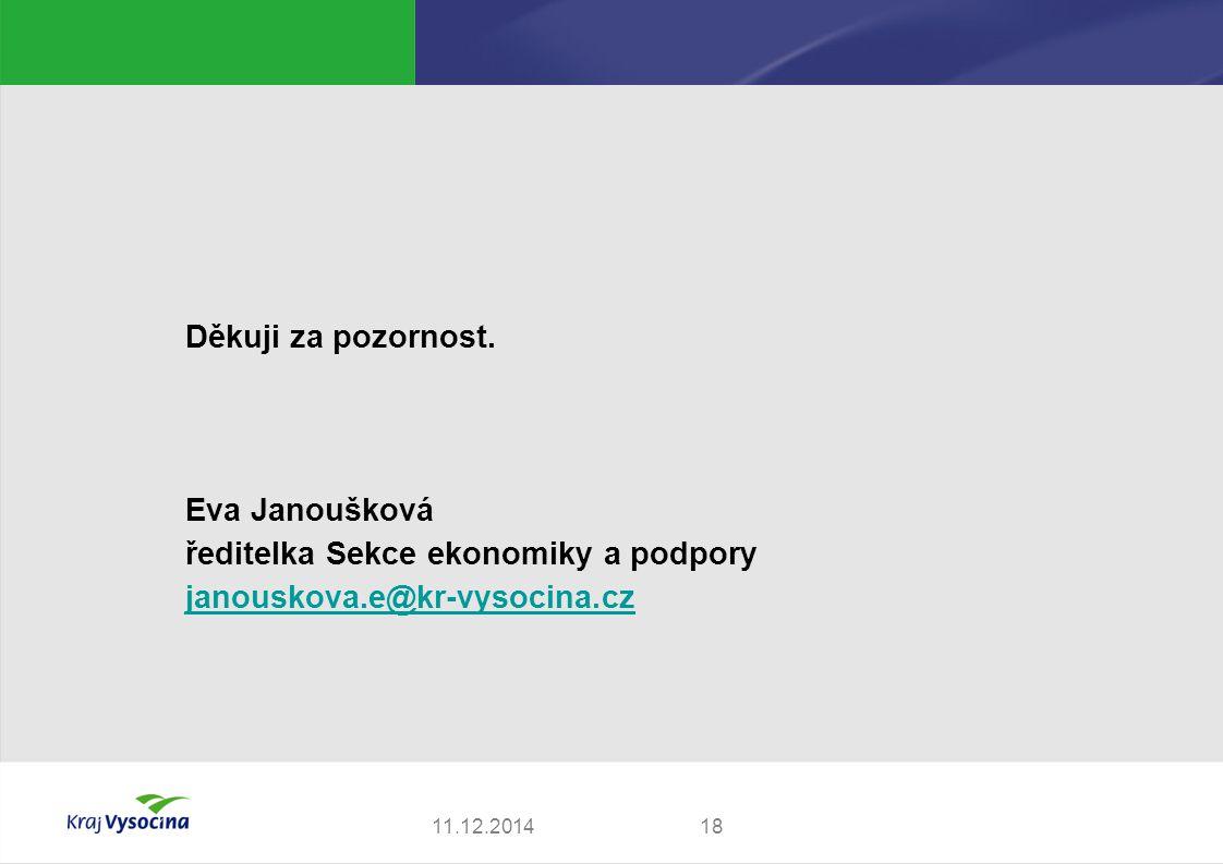 Děkuji za pozornost. Eva Janoušková ředitelka Sekce ekonomiky a podpory janouskova.e@kr-vysocina.cz 1811.12.2014