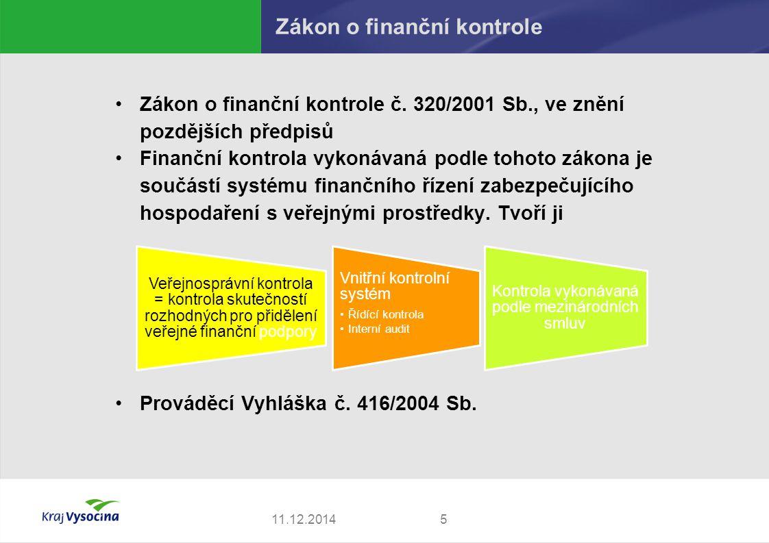 Zákon o finanční kontrole Zákon o finanční kontrole č. 320/2001 Sb., ve znění pozdějších předpisů Finanční kontrola vykonávaná podle tohoto zákona je