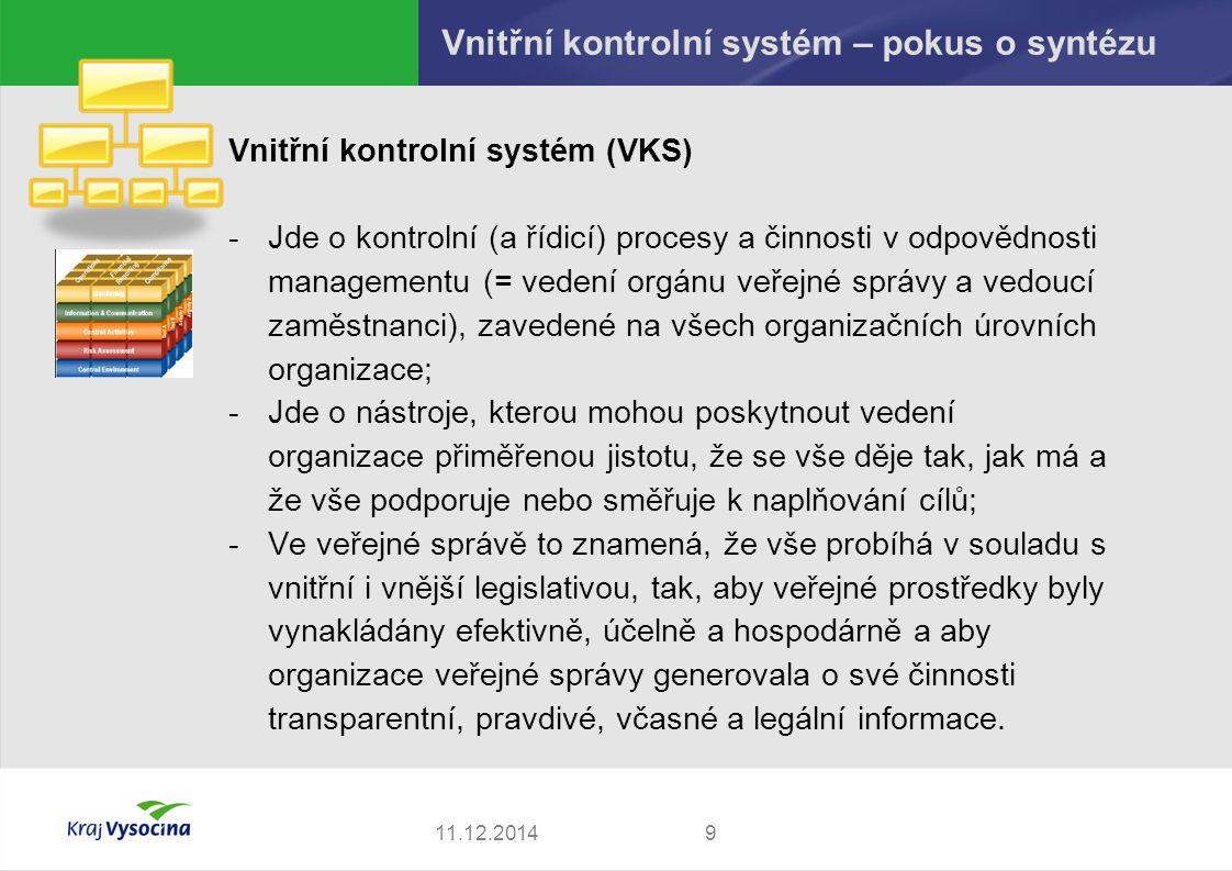 Vnitřní kontrolní systém – pokus o syntézu Vnitřní kontrolní systém (VKS) -Jde o kontrolní (a řídicí) procesy a činnosti v odpovědnosti managementu (=