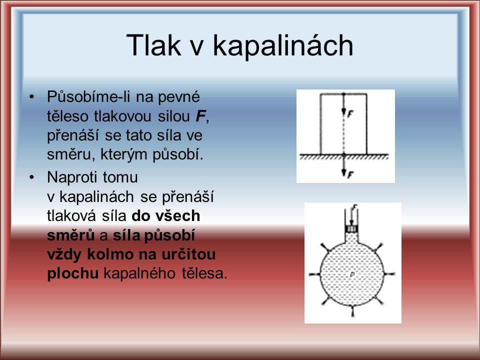 Tlak v kapalinách Působíme-li na pevné těleso tlakovou silou F, přenáší se tato síla ve směru, kterým působí. Naproti tomu v kapalinách se přenáší tla