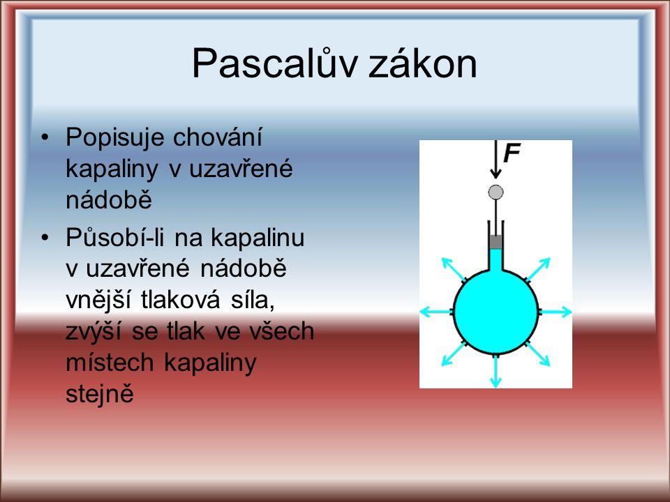 Pascalův zákon Popisuje chování kapaliny v uzavřené nádobě Působí-li na kapalinu v uzavřené nádobě vnější tlaková síla, zvýší se tlak ve všech místech