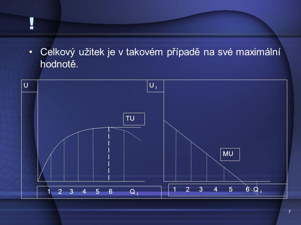 7 ! Celkový užitek je v takovém případě na své maximální hodnotě. U i MU 1 2 3 4 5 6 Q i U iU i TU