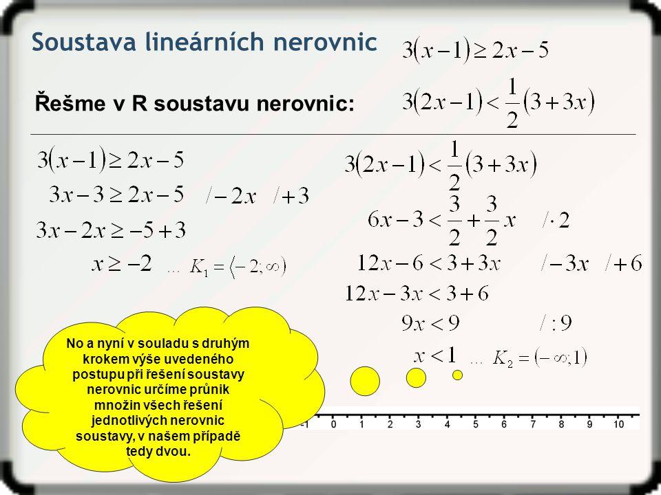 Soustava lineárních nerovnic Řešme v R soustavu nerovnic: No a nyní v souladu s druhým krokem výše uvedeného postupu při řešení soustavy nerovnic určí