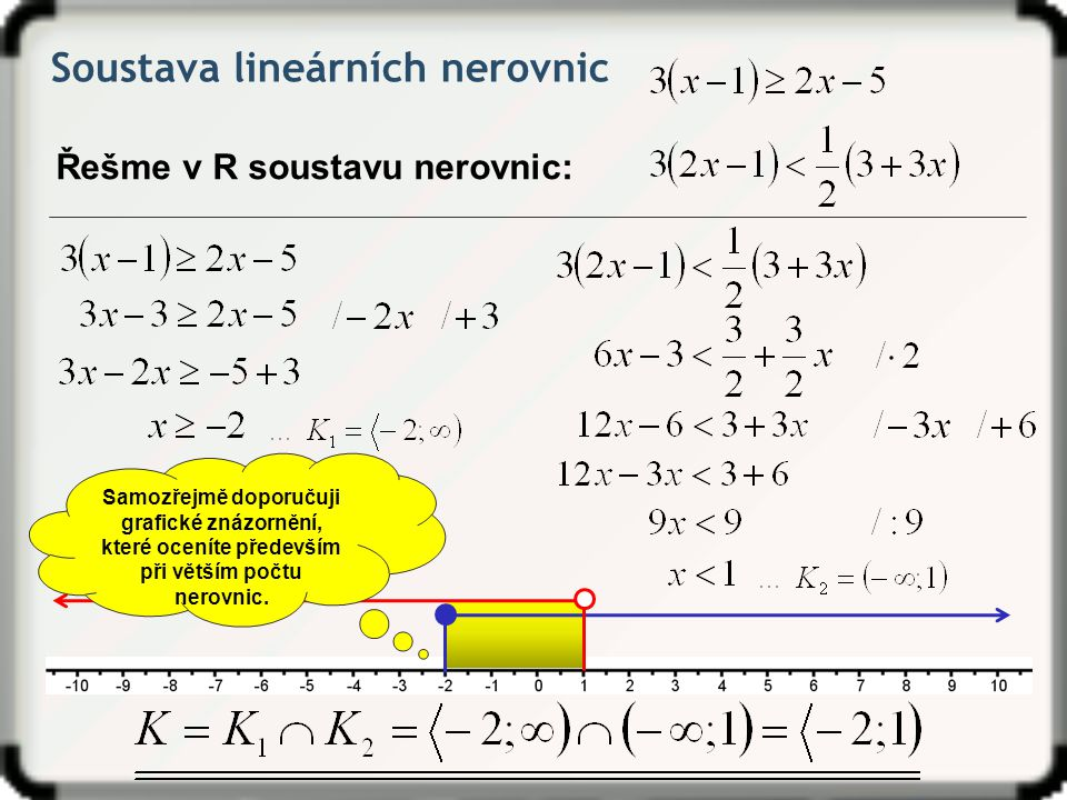 Soustava lineárních nerovnic Řešme v R soustavu nerovnic: Samozřejmě doporučuji grafické znázornění, které oceníte především při větším počtu nerovnic