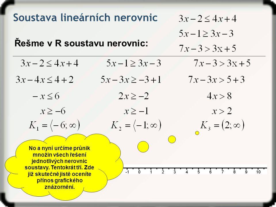 Soustava lineárních nerovnic Řešme v R soustavu nerovnic: No a nyní určíme průnik množin všech řešení jednotlivých nerovnic soustavy. Tentokrát tří. Z