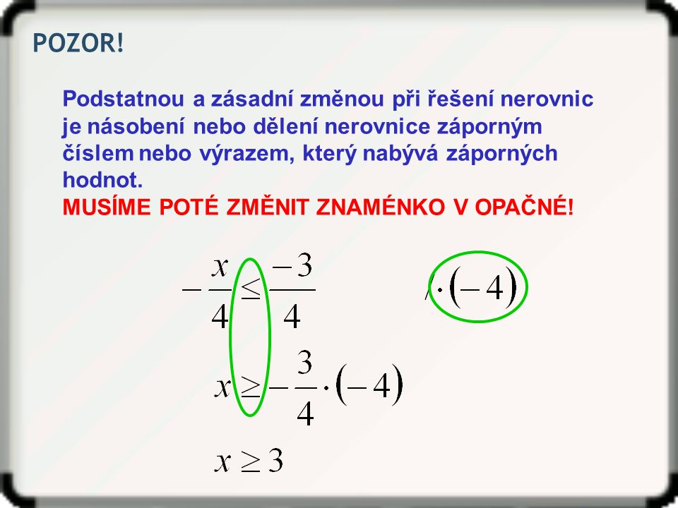 Opakování ‒ Lineární nerovnice Lineární nerovnice s neznámou x je nerovnice, kterou lze vyjádřit ve tvaru: Jejím řešením je podmnožina množiny R, kterou lze zapsat například pomocí intervalu.