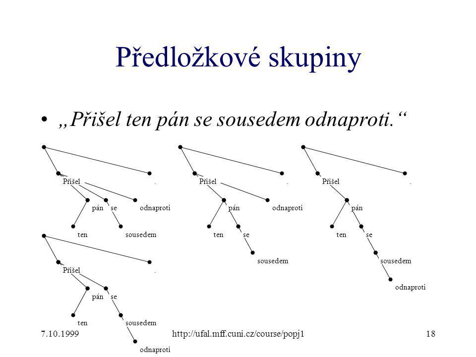 """Předložkové skupiny """"Přišel ten pán se sousedem odnaproti."""" 7.10.1999http://ufal.mff.cuni.cz/course/popj118 Přišel ten pánse sousedem odnaproti.Přišel"""