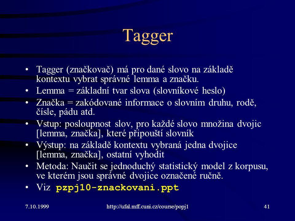 Tagger Tagger (značkovač) má pro dané slovo na základě kontextu vybrat správné lemma a značku. Lemma = základní tvar slova (slovníkové heslo) Značka =